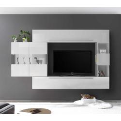 Moderne Wohnwand in Weiß hängend (4-teilig)