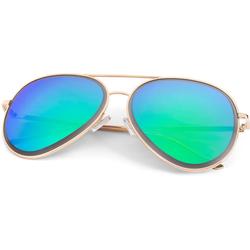 styleBREAKER Sonnenbrille Piloten Sonnenbrille mit geschliffenem Rand Verspiegelt goldfarben