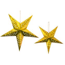 LED Glanzpapier Leuchtsterne GOLD 2er Set 35/60 cm warmweiß