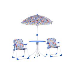 Outsunny Kindersitzgruppe Kinder Gartenset mit Sonnenschirm blau