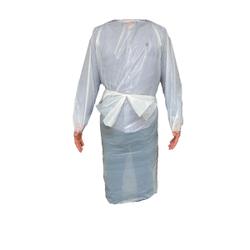 DEISS Schutzkittel, 1300 mm, Wasserfester Folienschutzkittel für jede Körpergröße, 1 Karton = 50 Stück