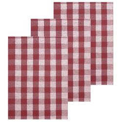 Lashuma Handtuch Set (Set, 3-tlg), Geschirrtücher Halbleinen, Küchentücher 50x70 cm rot
