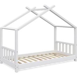 VitaliSpa Kinderbett Design Hausbett Kinderbett Kinder Holz Haus Zaun 80x160cm Weiß