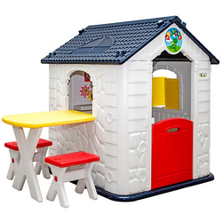 Kinder Spielhaus ab 1 - Garten Kinderspielhaus mit Tisch weiß