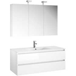 Allibert Badmöbel-Set Alma, (3-tlg), bestehend aus Spiegelschrank und Waschtisch weiß