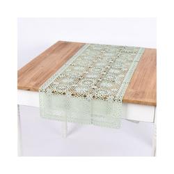 SCHÖNER LEBEN. Tischband Tischläufer Häkelspitze Amira mint 40x150cm, Tischläufer Häkelspitze Amira mint 40x150cm