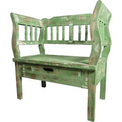 Casa Padrino Landhausstil Shabby Chic Sitzbank mit Schublade Antik Grün / Braun / Weiß 80 x 44 x H. 80 cm - Landhausstil Möbel