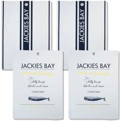 JACKIES BAY Geschirrtuch Jackies Bay, (Set, 4-tlg., 2 x Geschirrtuch 50x70 cm blau 2 x Geschirrtuch 50x70 cm mit Text)