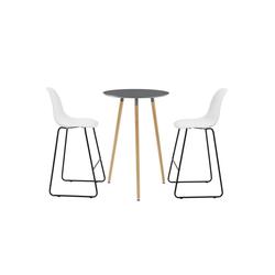 en.casa Bartisch, Hamina Bartheke 70x107cm Bistrotisch mit Barstühlen
