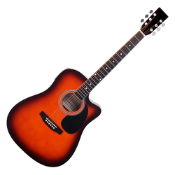 Classic Cantabile WS-10SB-CE Westerngitarre sunburst mit Tonabnehmer