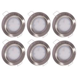 6er Set LED Einbau Einbau Lampen ALU Strahler Leuchten Schlaf Zimmer Spot silber