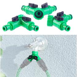2-Wege-Wasserhahn-Adapter mit 2 Ventilen für Gartenschläuche, 3er-Set