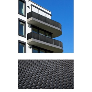 dynamic24 Balkonsichtschutz Polyrattan PVC Sichtschutzmatte 300x100 Balkon Sichtschutz Zaun Windschutz grau