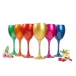 Sendez Rotweinglas 6 Mix Weingläser 300ml Metall-Optik Weinglas Rotweingläser Weißweinglas