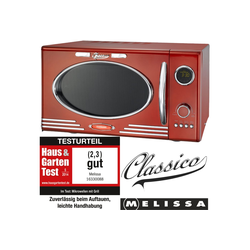 MELISSA Mikrowelle 16330088 Retro Classico Mikrowelle 900 Watt 25 Liter Garraum, Design Mikrowelle mit Grill 1000 Watt Metallic rot, Grill, 25 l