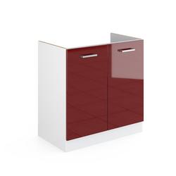 Vicco Spülenunterschrank 80 cm ohne Arbeitsplatte Küchenschrank Unterschrank Küchenunterschrank R-Line Küchenzeile rot