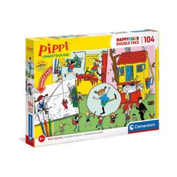 Clementoni® Puzzle Puzzle 104 Teile, Happy Color Double Face - Pippi, Puzzleteile