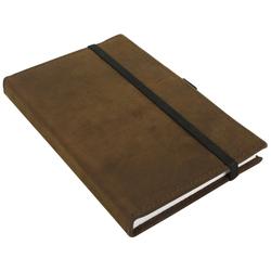 Gusti Leder Notizbuch Riana, Buch Notizbuch Tagebuch mit Stiftehalter DIN A5 Braun Leder