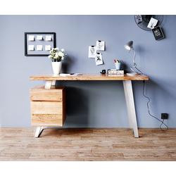 DELIFE Schreibtisch Live-Edge, Akazie Natur 147x62 massiv Baumkante 3 Schübe Schreibtisch