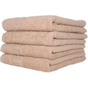 Handtuch-Set, 100 % natürliche Baumwolle, 500 g/m2, saugfähig, Hotelqualität, ringgesponnen, 70 x 140 cm Badetücher und 50 x 90 Handtücher, baumwolle, camel, 4 Hand Towels