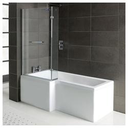 HAK Badewanne Raumsparwanne Syna+Wannenträger+Duschkabine, 150x85/70 cm
