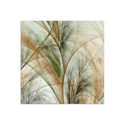 Artland Glasbild Fraktales Gras IV, Gräser (1 Stück) 50 cm x 50 cm x 1,1 cm