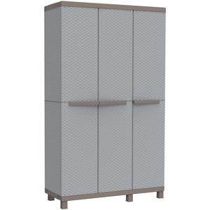 Terry, C 102A, Multifunktionsschrank mit 3 Türen in Rattan-Optik, 2 getrennte Innenräume, für innen und außen. Farbe, Material: Kunststoff, Abmessungen: 102x39x170 cm, Grau/Taubengrau