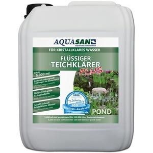 AQUASAN Gartenteich Flüssiger TeichKlärer Plus (Sorgt schnell für kristallklares Wasser im Teich, bindet die Schwebstoffe im Teich-Wasser - Teichklar), Inhalt:5 Liter
