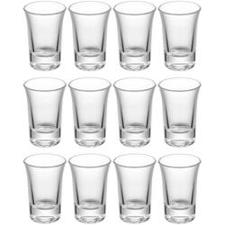 Praknu Schnapsglas 12 Schnapsgläser Glas Set 4cl Shotgläser, Glas, Shotgläser Set Glas 4cl - Standfest - Spülmaschinenfest - Pinnchen Gläser für Tequila Wodka