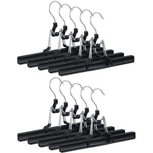 Relaxdays, schwarz Hosenbügel Metall 10er Set, 360° drehbarer Haken, fest schließend, Rockbügel, gummierte Klemmen, 26cm, PVC, Pack