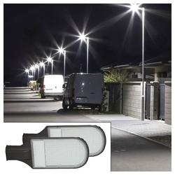 etc-shop LED Außen-Stehlampe, 2x LED Außen Straßen Lampe 100 W Mast Strahler Industrie Fluter Hof Laterne