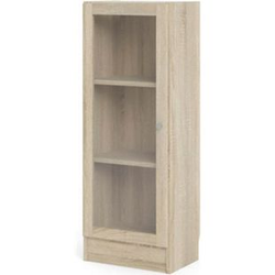 Regal Ablagen Glastür Dekor Eiche Holz Standregal Vitrine Bücherregal Wandregal