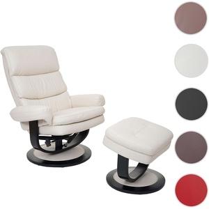 Relaxsessel HWC-C16, Fernsehsessel TV-Sessel Hocker mit Staufach, Kunstleder ~ creme