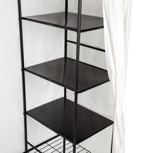 Metall-Garderobenschrank mit Vorhang - schwarz