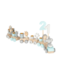 BIECO Kerzenhalter Bieco Holz Geburtstagszug Scandi Look 0-99 Jahre Holz Zahlenzug 28 tlg., Länge ca. 48 cm Kerzen Geburtstagszug Holz Eisenbahn Kinder Geburtstagszug Holz Geburtstagskerzen Zahlen, Holz-Zug