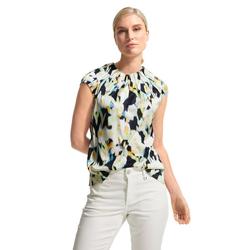 Comma Klassische Bluse Comma Highneck Bluse mit Print blau