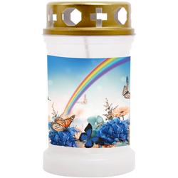 HS Candle Grabkerze, 48 Std. Brenndauer Grablicht Gedenkkerze, viele versch. Farben und Motive verfügbar 14.5 cm