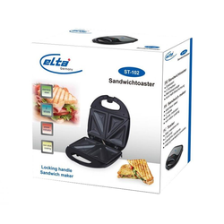Elta Sandwichmaker Edelstahl Sandwichtoaster, 750 W, Sandwichmaker Sandwich Toaster Maker Grill