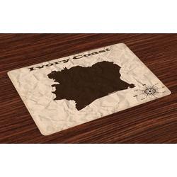 Platzset, Waschbare Stoff Esszimmer Küche Tischdekorations Digitaldruck, Abakuhaus, (4-teilig, 4 Teilig-St., Set aus 4x), Elfenbeinküste Zerknittertes Papier Blick Karte