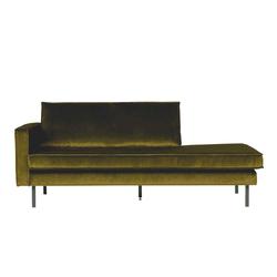 Sofa Recamiere im Retro Style Oliv Grün Samtbezug
