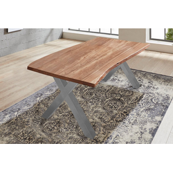 SAM® Baumkantentisch Xanten, Baumkante Tisch massiv Akazie X-Gestell Xanten