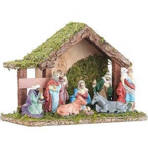 Klassische Holz-Weihnachtskrippe, handbemalte Porzellan-Figuren, klein