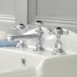Waschtischarmatur nostalgisch inkl. Push Up Ablauf und schwarzen Keramikdetails