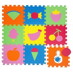 LittleTom Puzzlematte Baby Puzzlematte ab 0 Kinder Spielmatte Früchte, 9 Puzzleteile, EVA Krabbelmatte Früchte