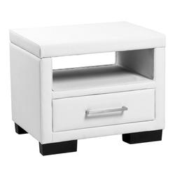 Corium Nachttisch, Eva mit Polsterbezug - 55cm x 40cm x 45cm [weiß] weiß