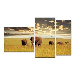 Bilderdepot24 Leinwandbild, Leinwandbild - Elefanten 130 cm x 80 cm