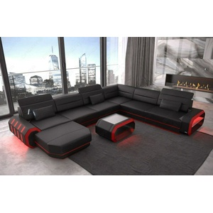 Sofa Wohnlandschaft Eckcouch Roma XXL Designer Couch Schwarz Leder Ottomane LED