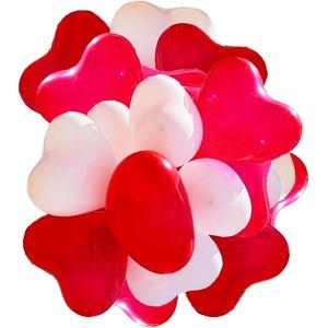 100 Herzluftballons rot weiß, helium geeignete Herz-Luftballons - Qualitätsware - Herzballons für Hochzeit, Flitterwochen, Valentinstag, Geburtstag (100, Rot / Weiß)