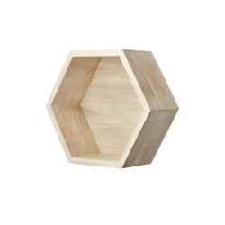 Wandregal  Hexagon ¦ holzfarben ¦ Maße (cm): B: 27 H: 27 T: 12