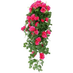 Godagoda Kunstblumen Hängend Künstliche Blumen Gefälschte Rosen Seidenblumen Hause Hochzeit Deko Weiss Grün Blau Rot Lila (Roserot)